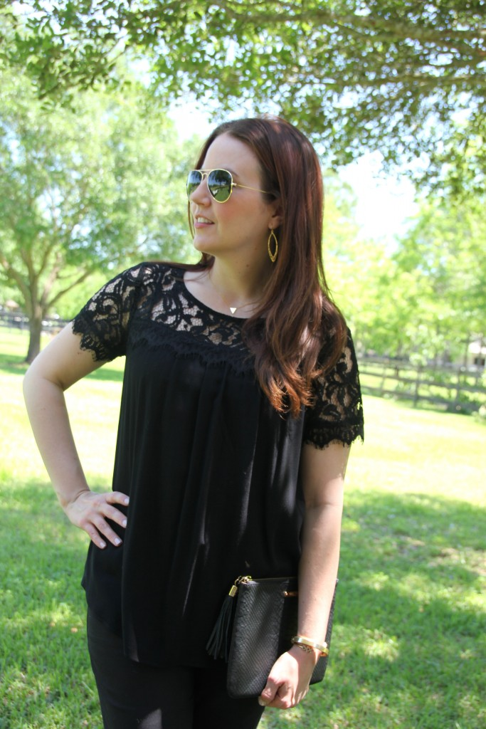 Ella Moss Black Lace Blouse | Lady in Violet