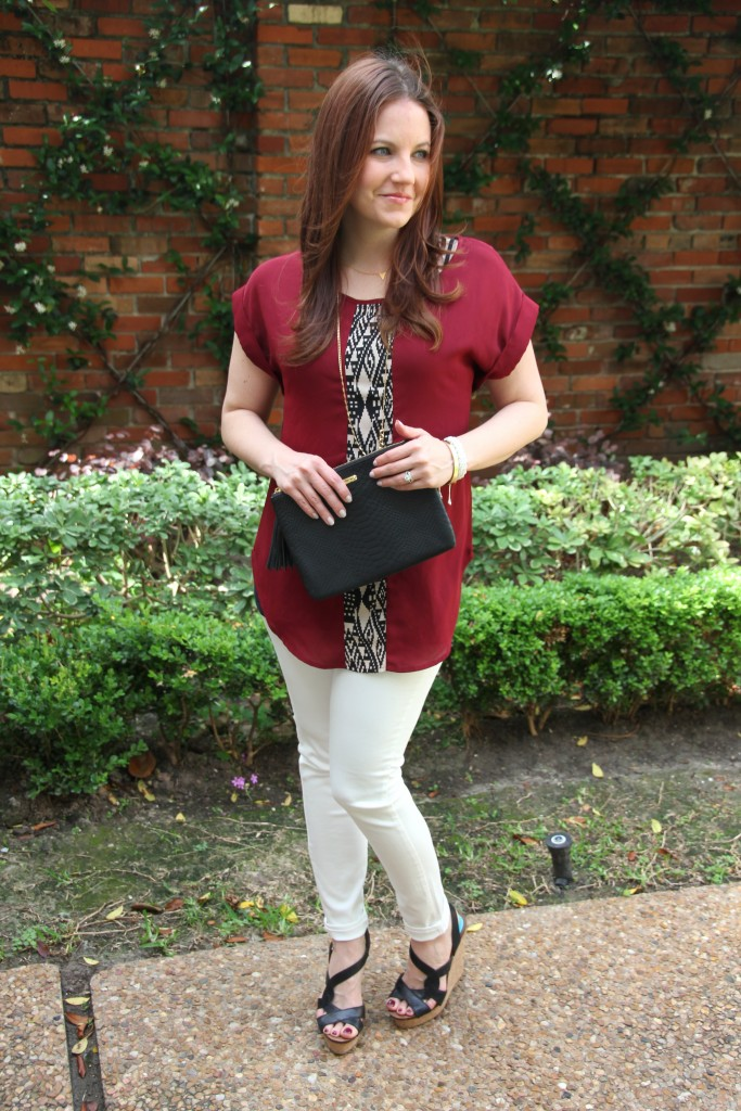 Spring Outfit Idea - Tunic Top, white denim and wedges | Lady in Violet