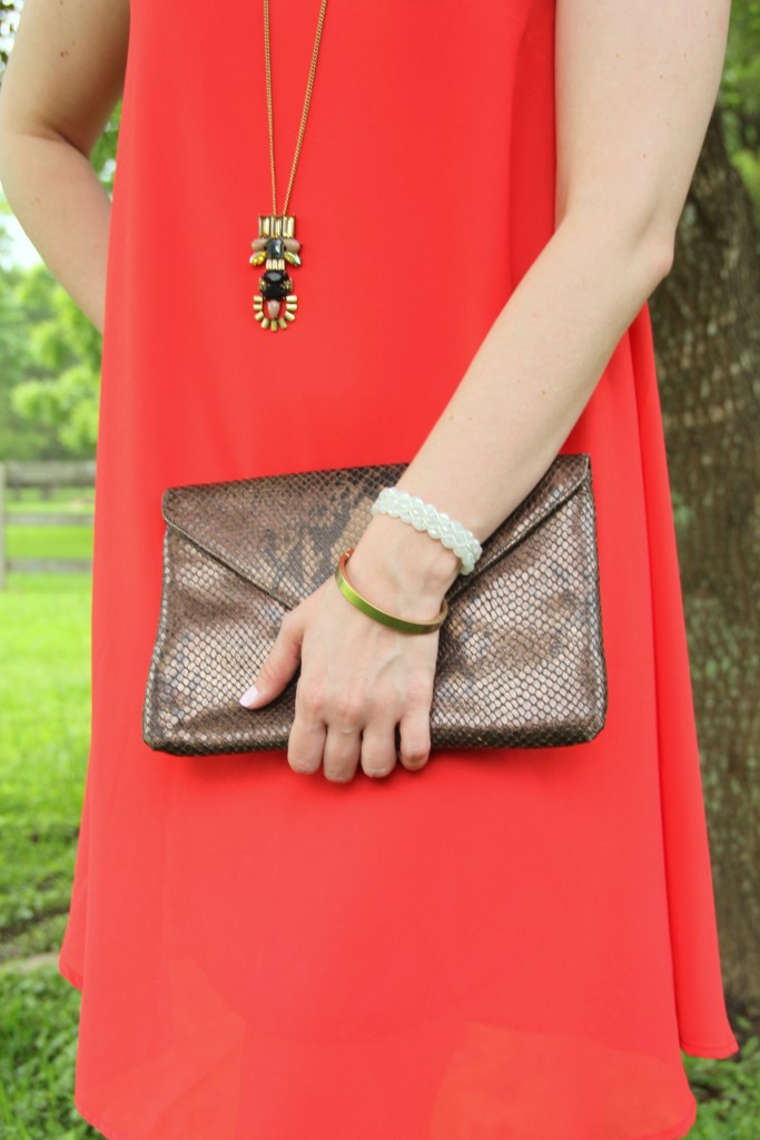 Orange Shift Dress with Brown Python Clutch | Lady in Violet
