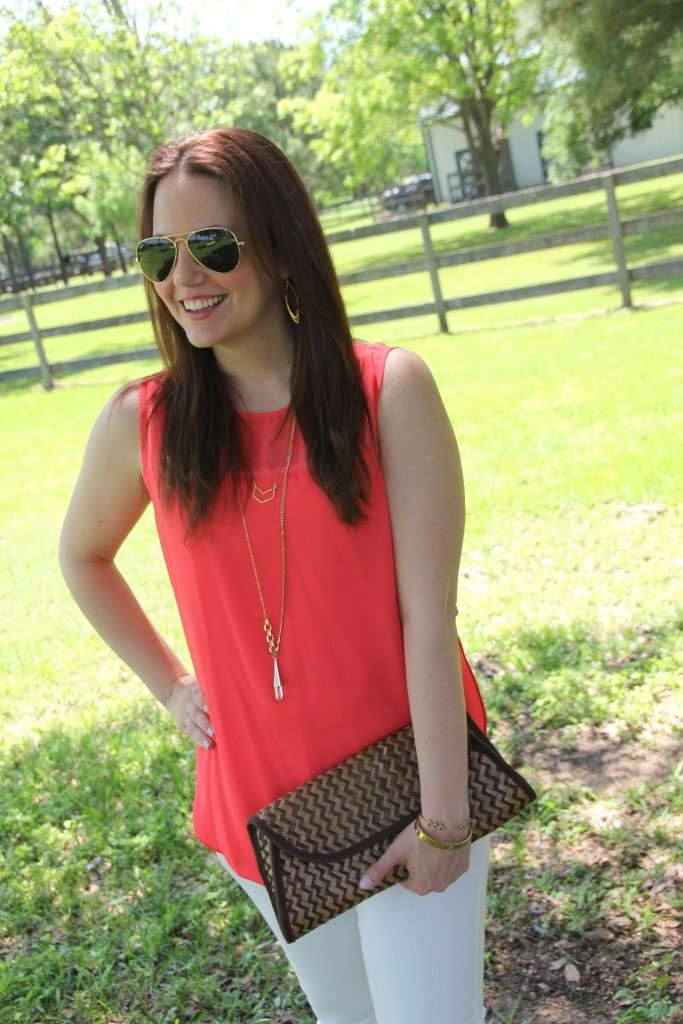 Summer Outfit Idea - Coral Sleeveless blouse, white denim and sandals | Lady in Violet