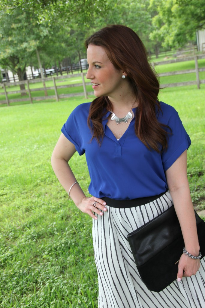 Work Outfit Idea - Striped Midi Skirt with Blue Blouse | Lady in Violet
