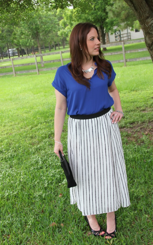 Office Style - Striped Midi Skirt with Blue Blouse | Lady in Violet