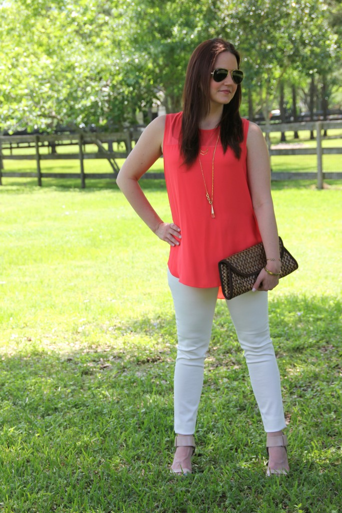 Vince Camuto Top and DSTLD White Jeans | Lady in Violet