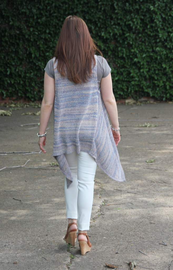 Spring Outfit Idea - Sleeveless Cardigan with white denim | Lady in Violet