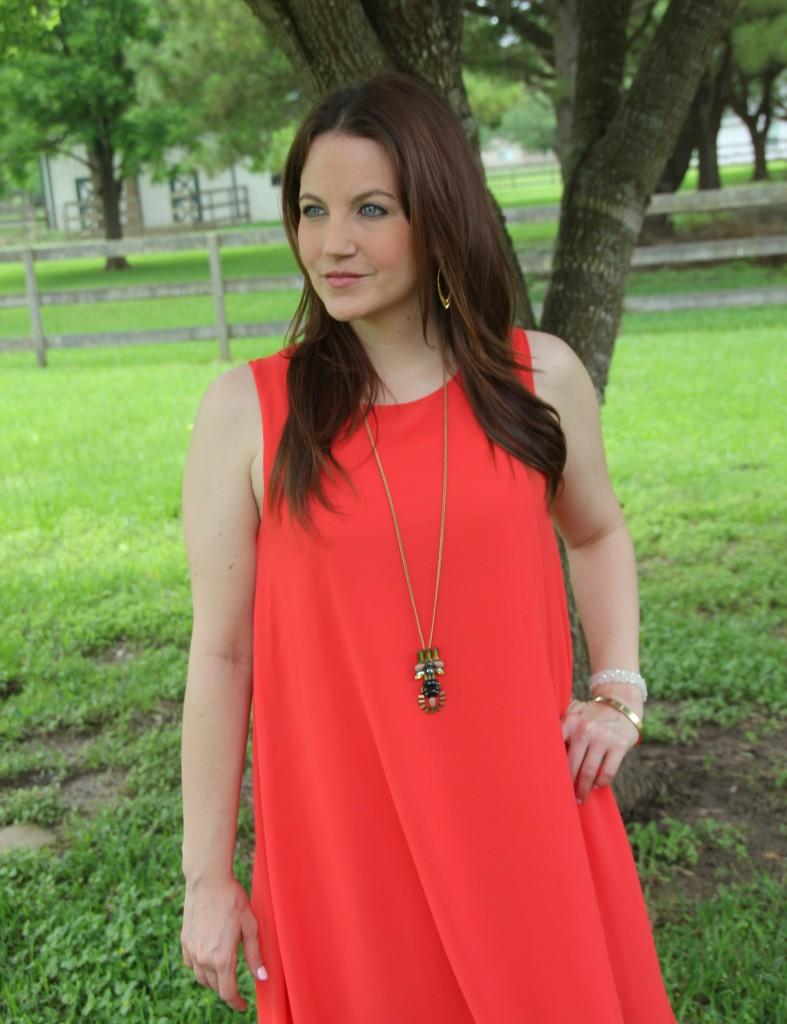 Spring Outfit Idea - Orange Shift Dress and Gold Jewelry | Lady in Violet