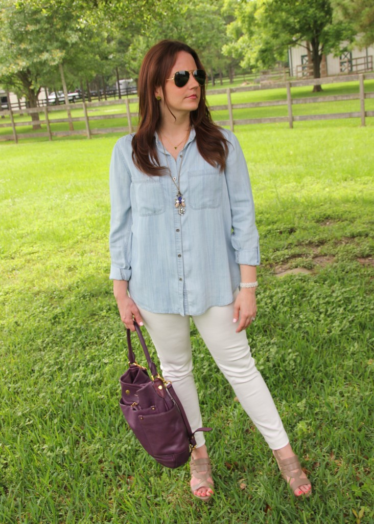 Casual Weekend Outfit - LIght Chambray shirt and White Denim with wedges | Lady in Violet