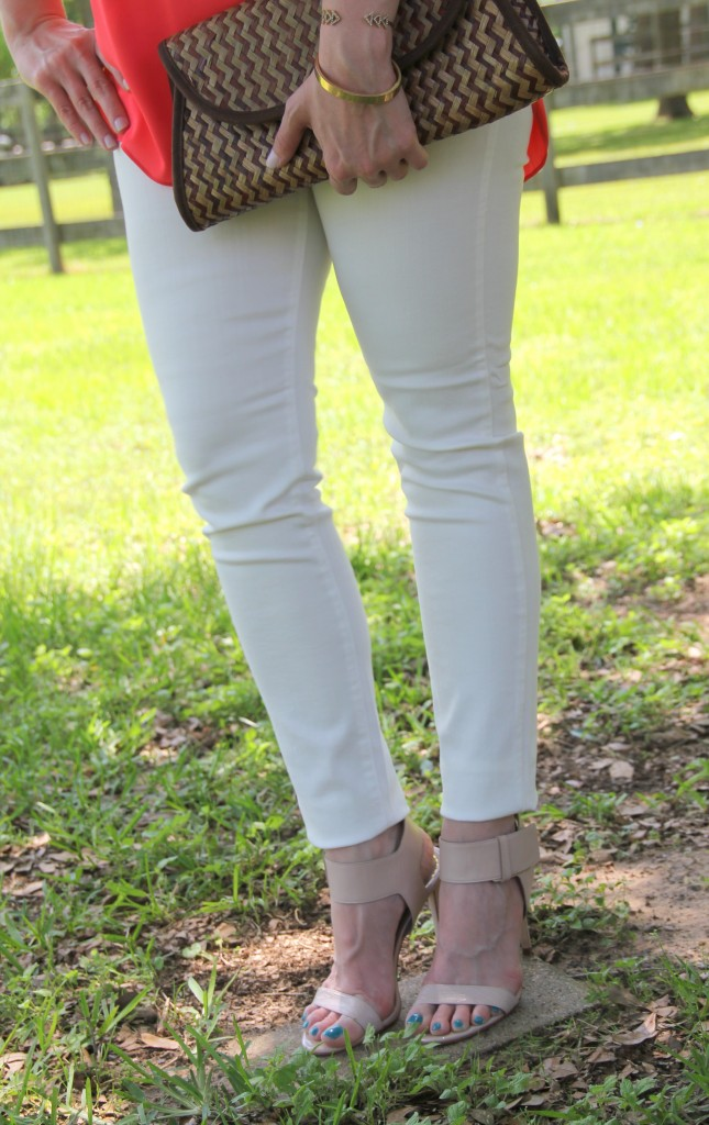 DSTLD White Denim and Enzo Angiolini Heels | Lady in Violet