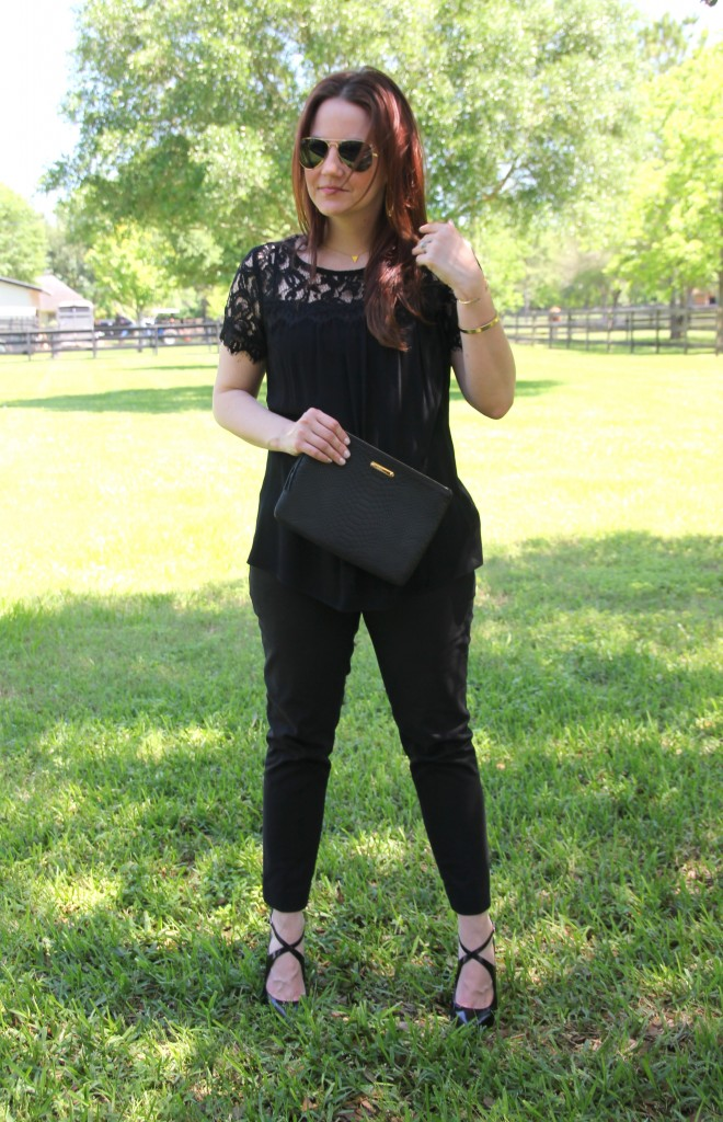 Work Oufit idea - Black Lace Blouse with Skinny Work Pants | Lady in Violet