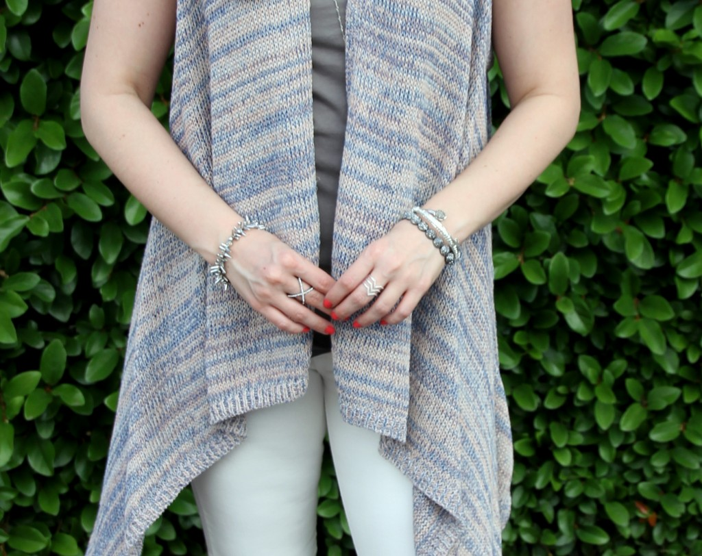 Halston Sleeveless Cardigan and Stella and Dot Jewelry | Lady in Violet