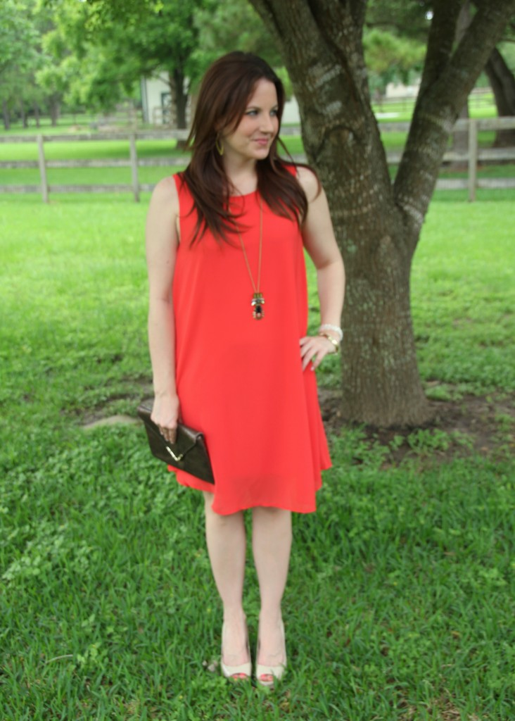 Orange Shift Dress and Gold Jewelry | Lady in Violet