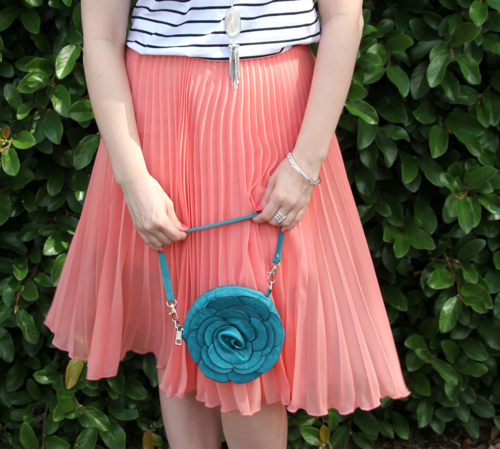 Weekend Oufit Idea - Striped Tee with Pleated Midi Skirt | Lady in Violet