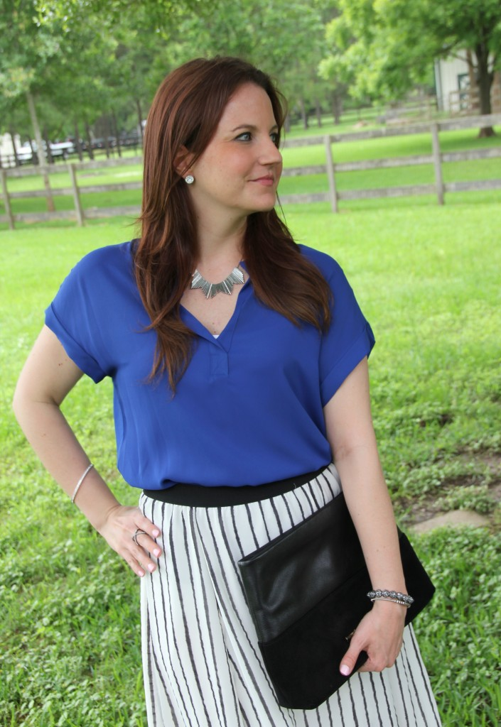 Work Style - Blue Blouse and Striped Skirt | Lady in Violet