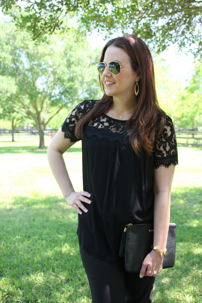 Work Oufit idea - Black Lace top with Skinny Work Pants | Lady in Violet