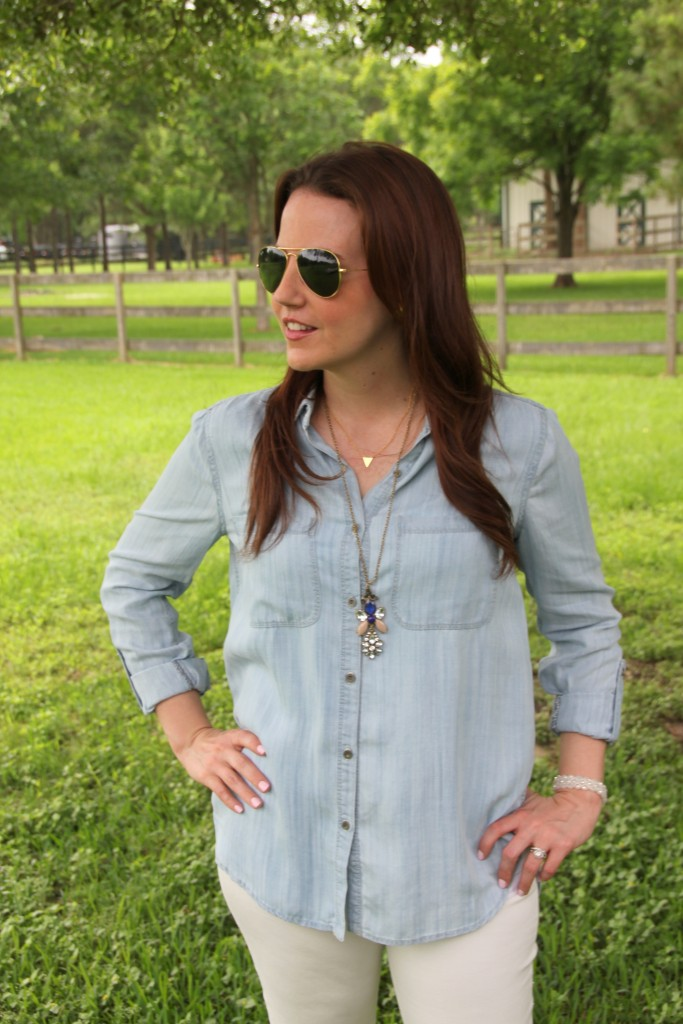 Weekend Outfit - LIght Chambray shirt and White Denim with wedges | Lady in Violet