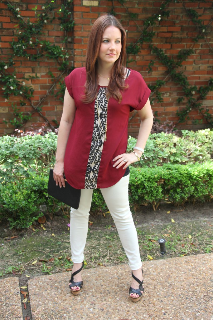 Summer Outfit Idea - Tunic Top, white denim and wedges | Lady in Violet
