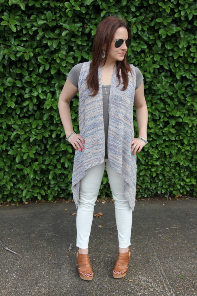 Outfit Idea - Sleeveless Cardigan with white denim | Lady in Violet
