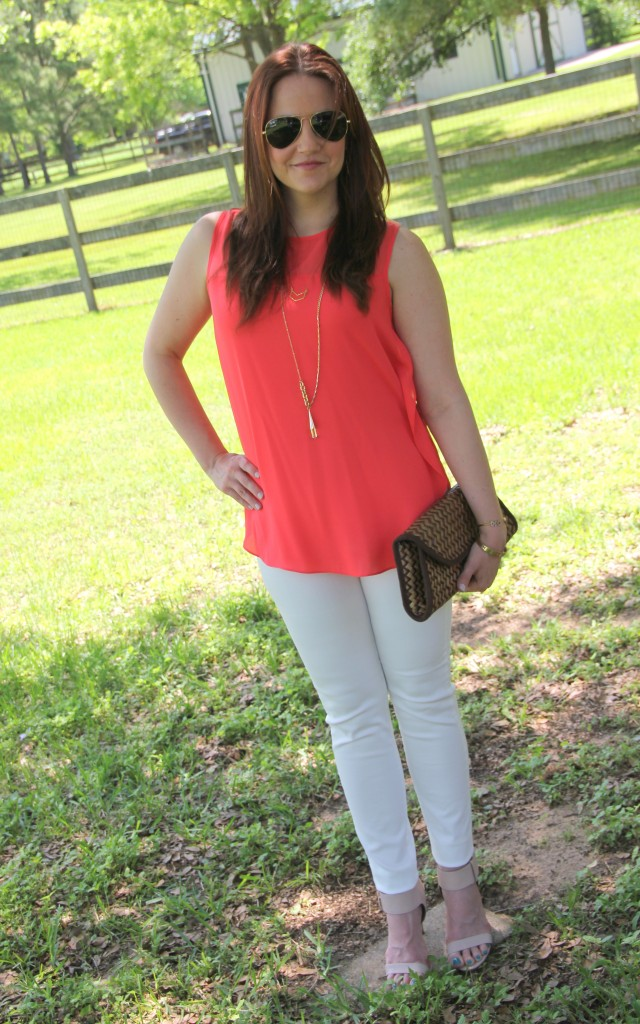 Weekend Outfit Idea - Coral Sleeveless blouse, white denim and heels | Lady in Violet