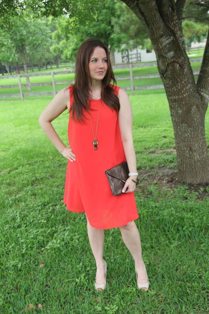 Outfit Idea - Orange Shift Dress and Gold Jewelry | Lady in Violet