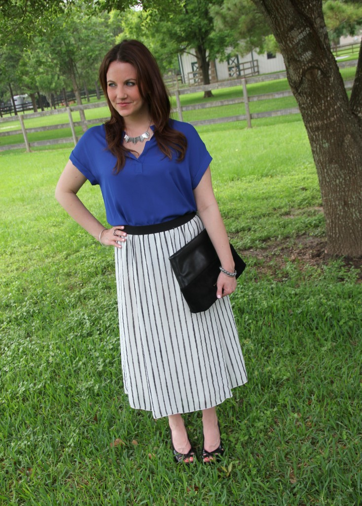 Office Outfit Idea - Striped Midi Skirt with Blue Blouse | Lady in Violet