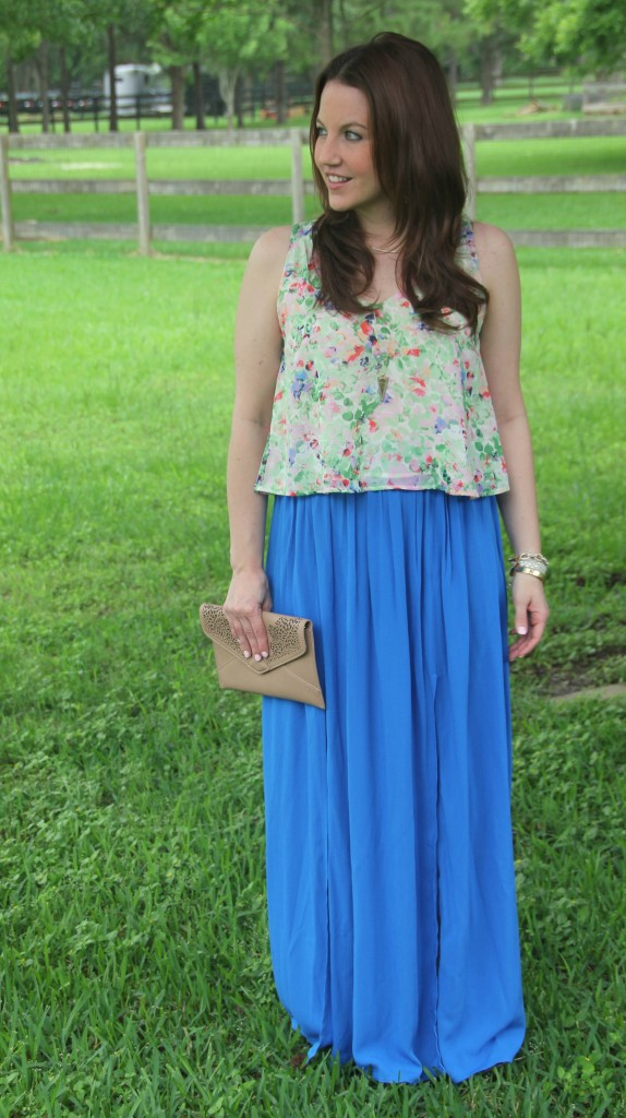 Summer Outfit - Floral Tank top and Blue Maxi Skirt | Lady in Violet