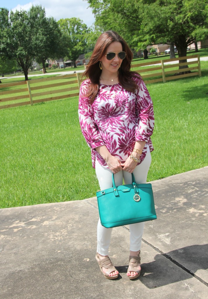 Summer Weekend Outfit -All White with pops of color | Lady in Violet