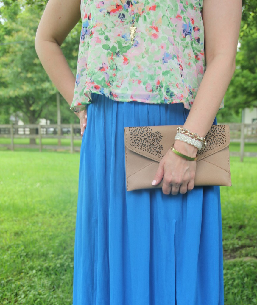Weekend Outfit Idea - Floral Tank top and Blue Maxi Skirt | Lady in Violet