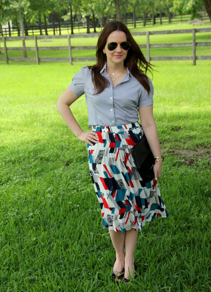 Office Outfit - Striped Blouse and Printed Midi Skirt | Lady in Violet