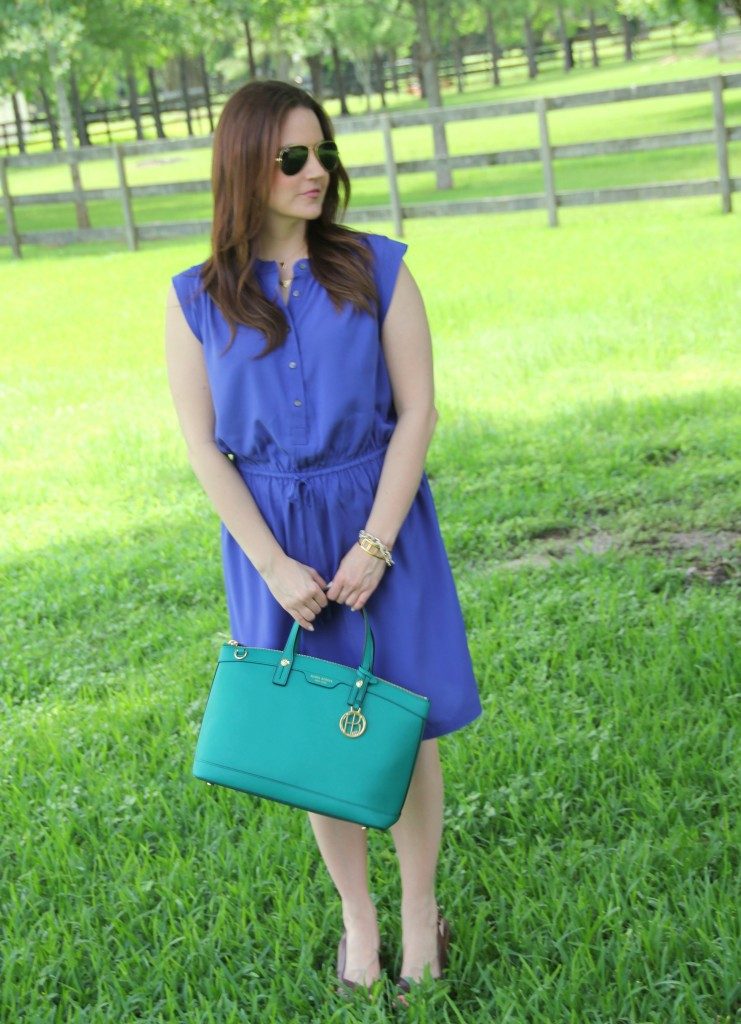 Summer Office Style - Blue Sleeveless Dress and Brown Wedges | Lady in Violet