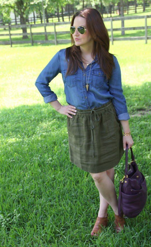 Casual Office Outfit - Chambray and Linen Skirt | Lady in Violet