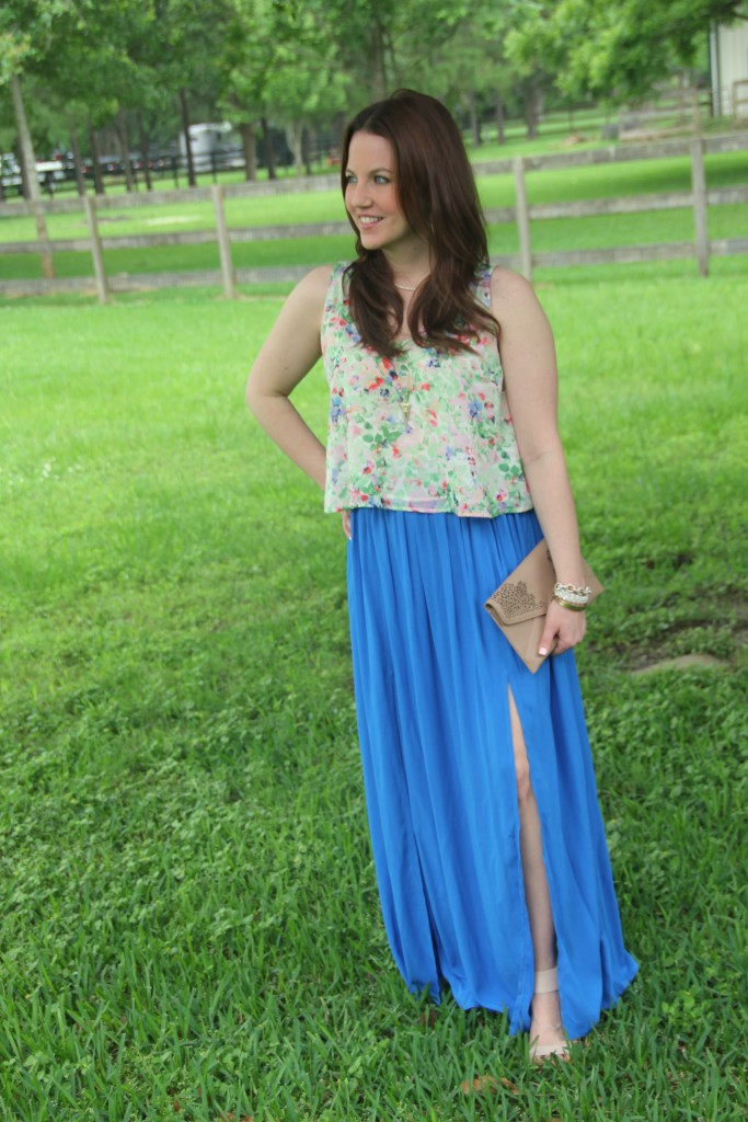 Summer Outfit Idea - Floral Tank top and Blue Maxi Skirt | Lady in Violet