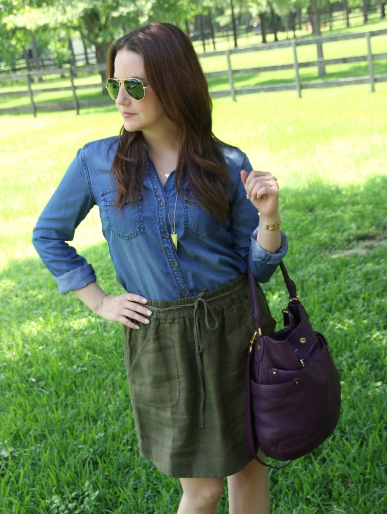 Chambray and Linen Skirt | Lady in Violet