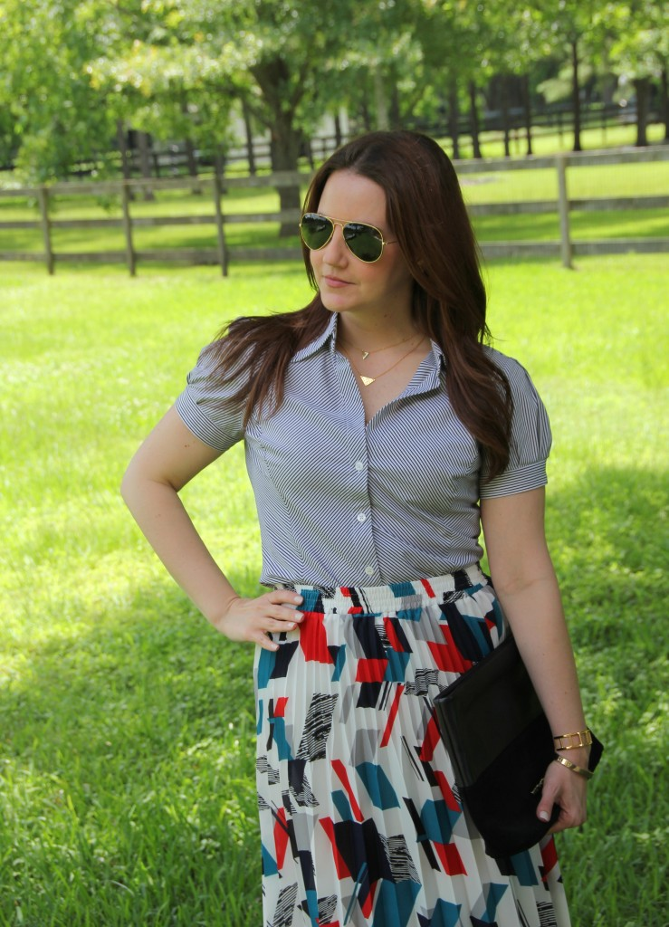 Office Outfit - Striped Blouse and Printed skirt | Lady in Violet