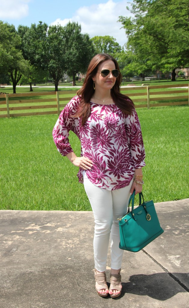 Spring Outfit Idea - White denim with pops of color | Lady in Violet