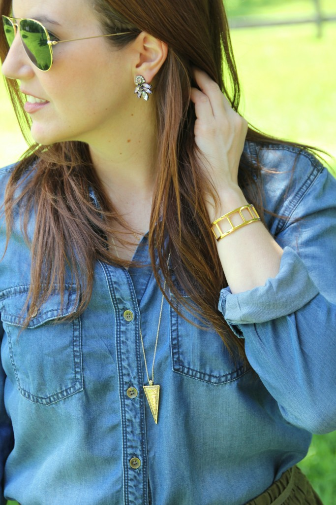 Chambray with Gold Jewelry | Lady in Violet
