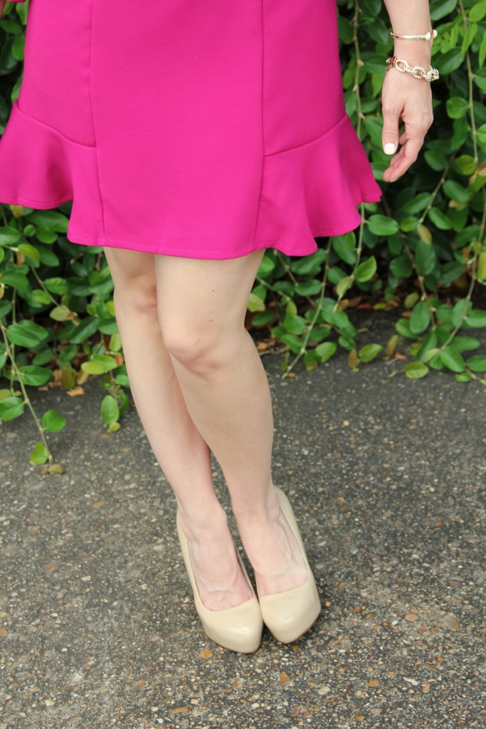 Flared Skirt and Nude Pumps | Lady in Violet