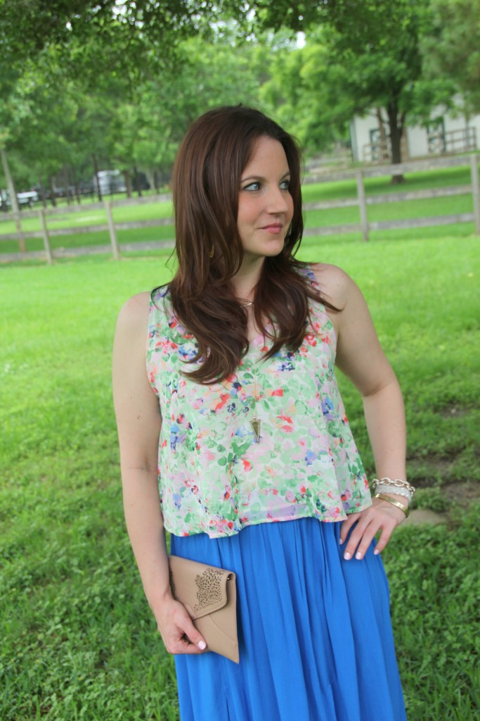 Floral Tank top and Blue Maxi Skirt | Lady in Violet