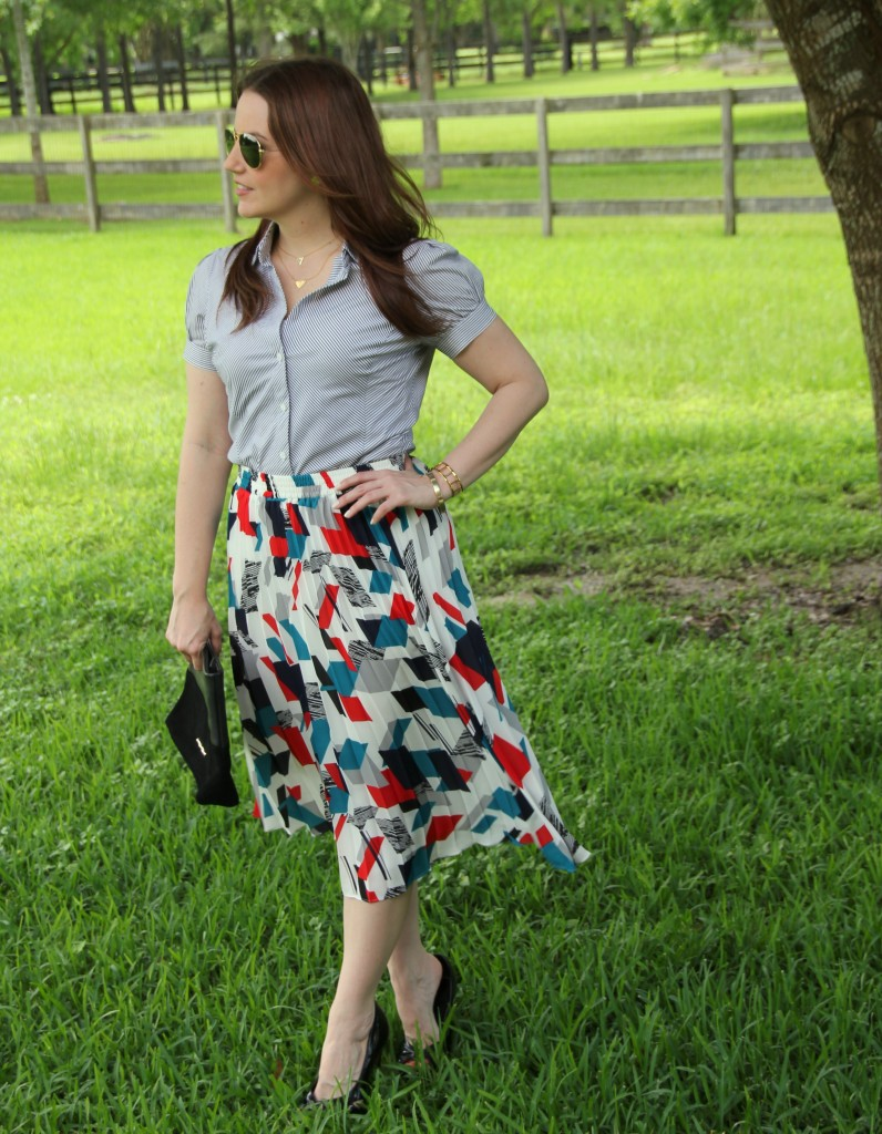 Work Outfit - Striped Blouse and Printed Midi Skirt | Lady in Violet