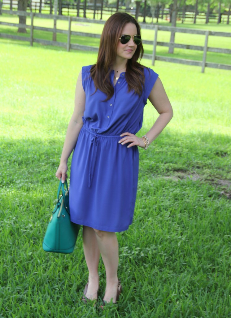 Office Outfit Idea - Drawstring Dress with Wedges | Lady in Violet