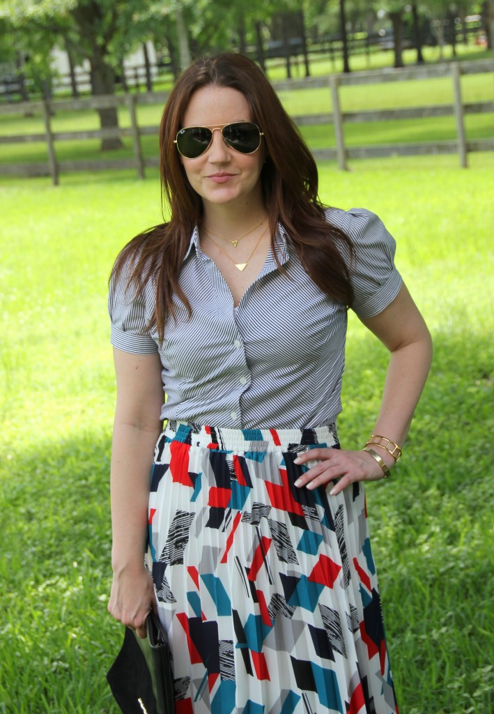 Work Outfit - Striped Blouse and Printed Skirt | Lady in Violet