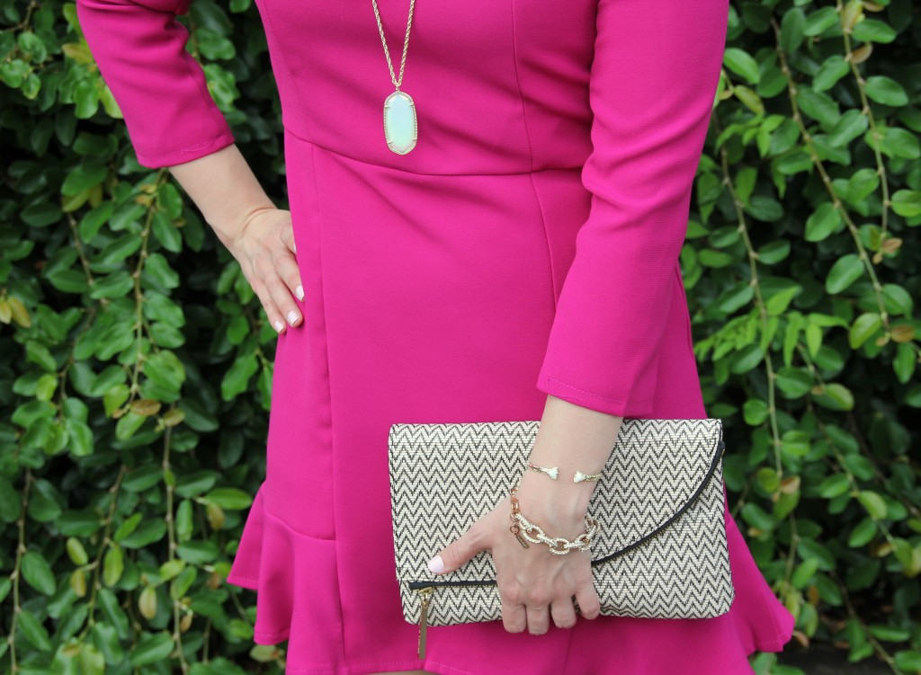 Elaine Turner Clutch and gold arm stack | Lady in Violet