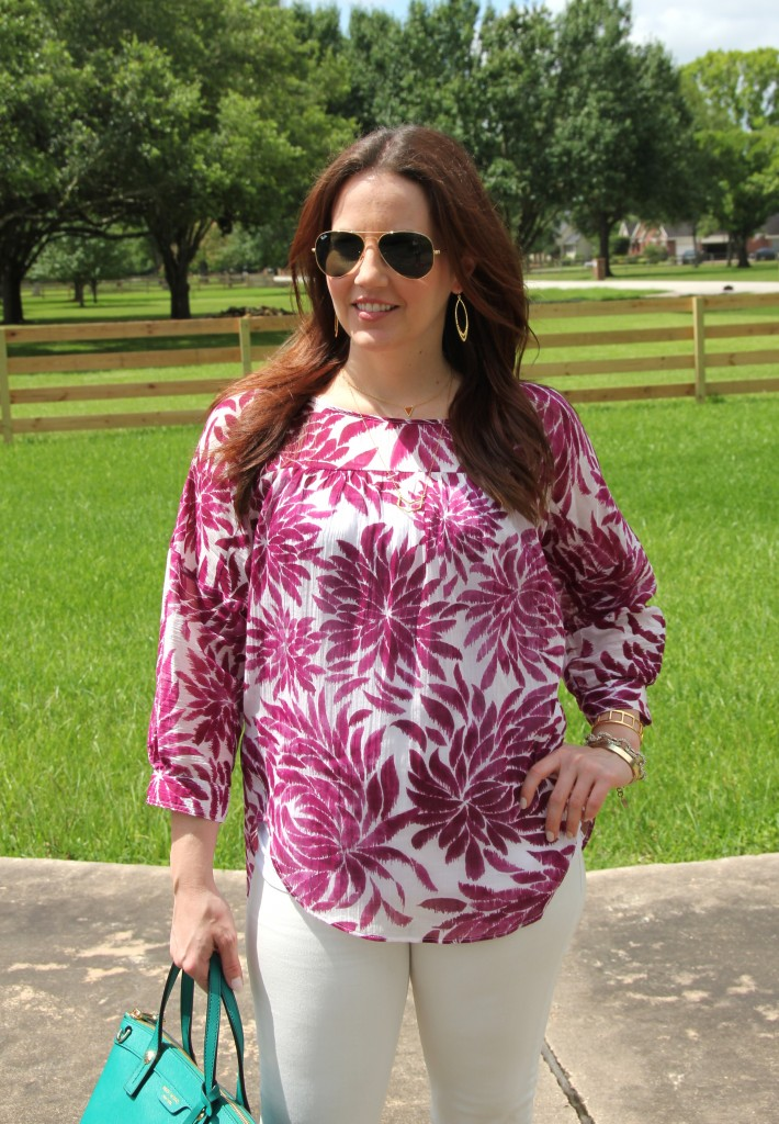 Loft Floral Blouse with White Jeans | Lady in Violet