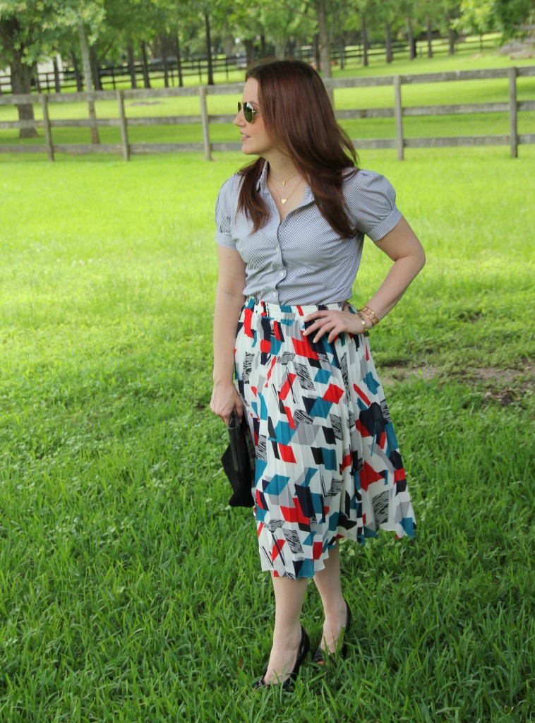 Striped Blouse and Printed Midi Skirt | Lady in Violet