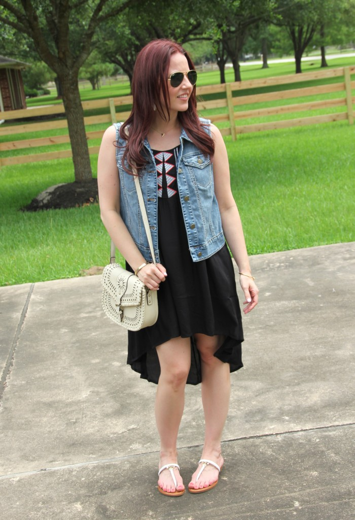 Summer Casual Oufit - Summer Dress with Denim vest and sandals | Lady in Violet