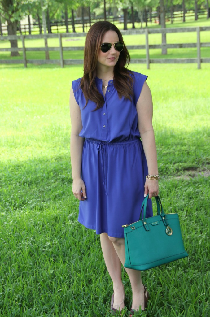 Office Outfit - Blue Sleeveless Dress with Wedges | Lady in Violet