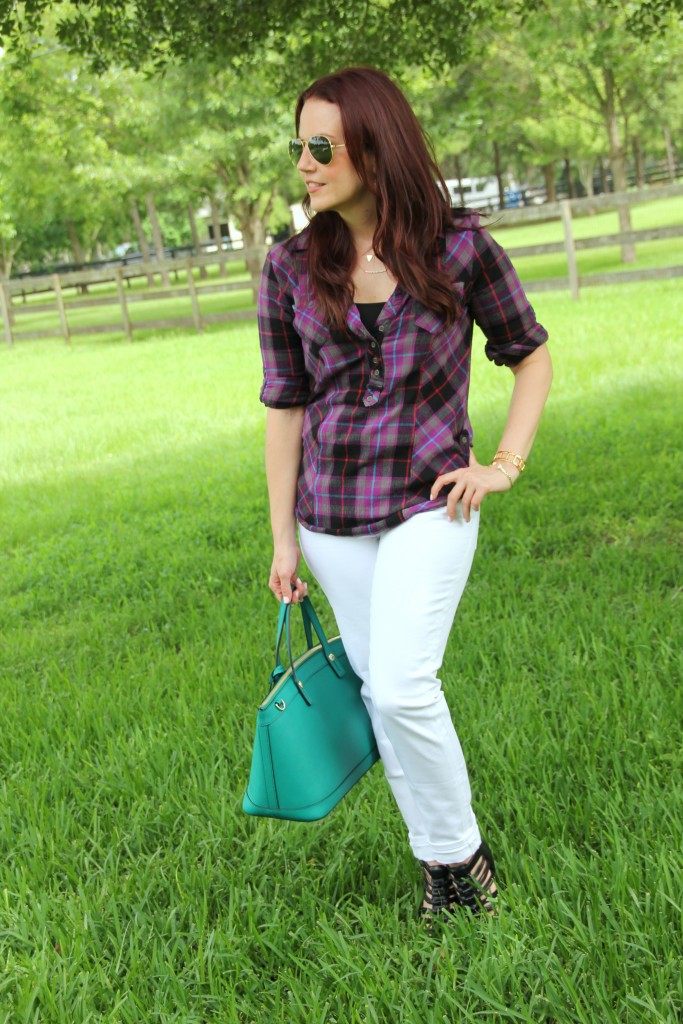 Summer Outfit Idea in Plaid | Lady in Violet