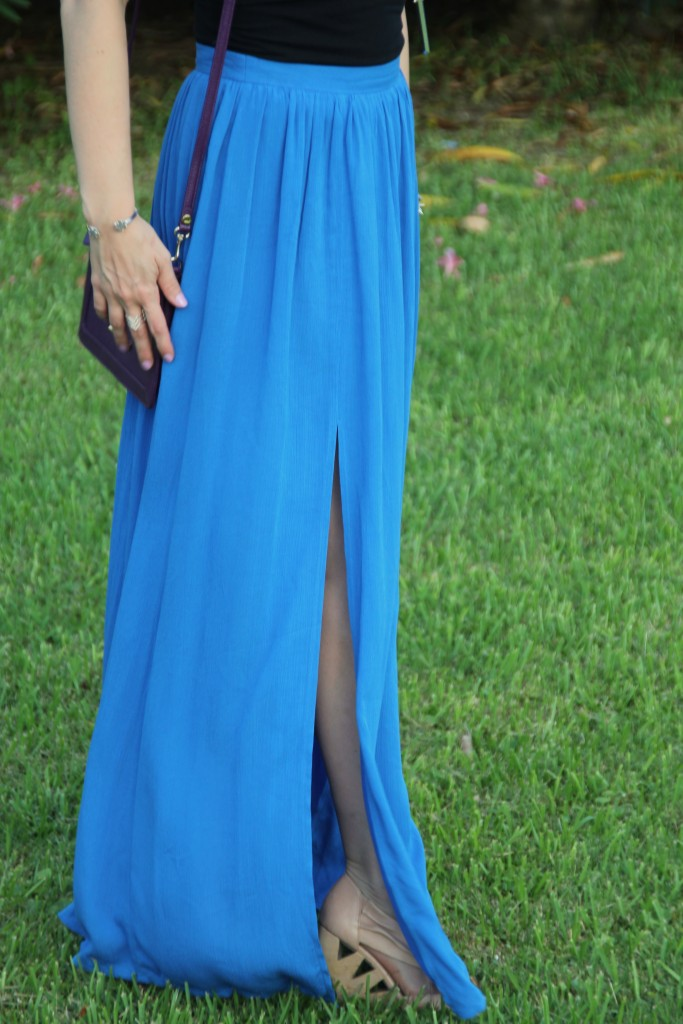 Blue Maxi Skirt and Nude Wedges | Lady in Violet