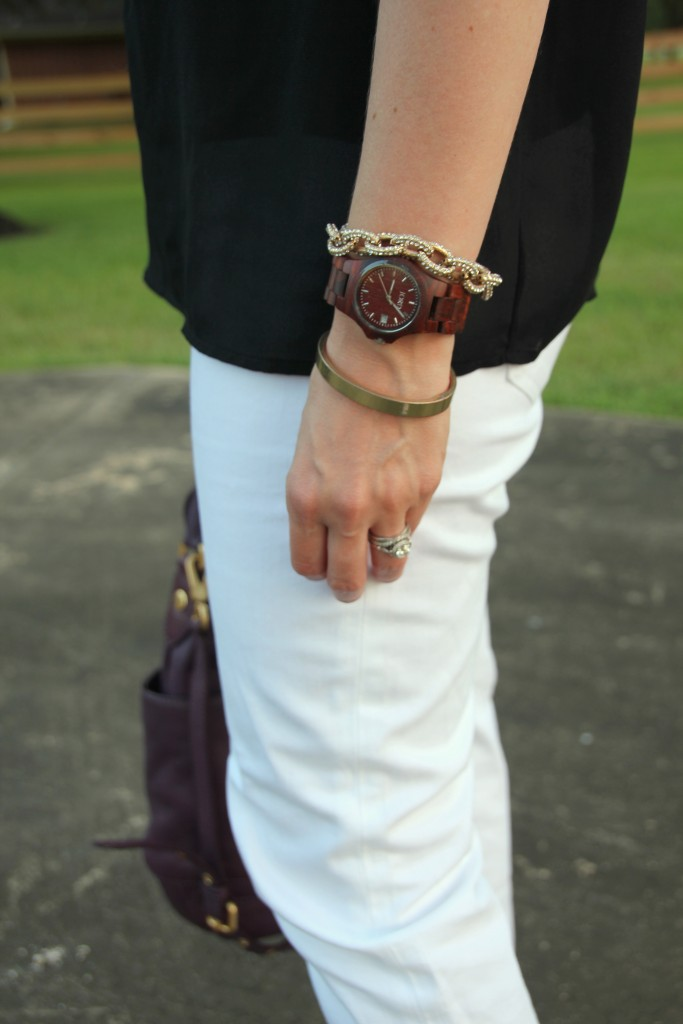 Wood Watch with Gold Bracelets | Lady in Violet #jordwatch