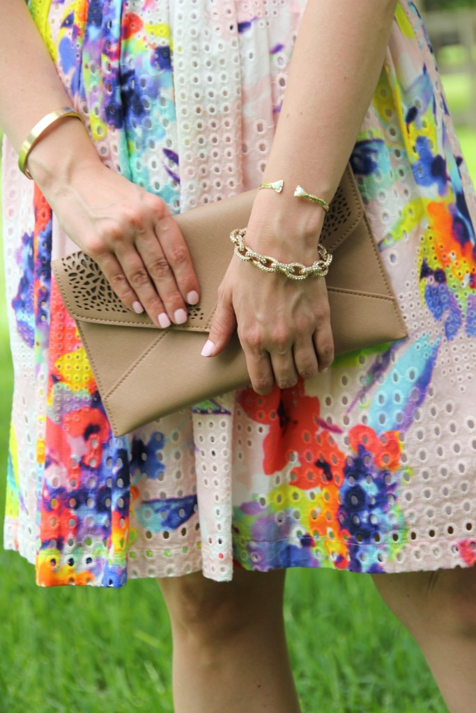 Nude Clutch and Floral Dress | Lady in Violet