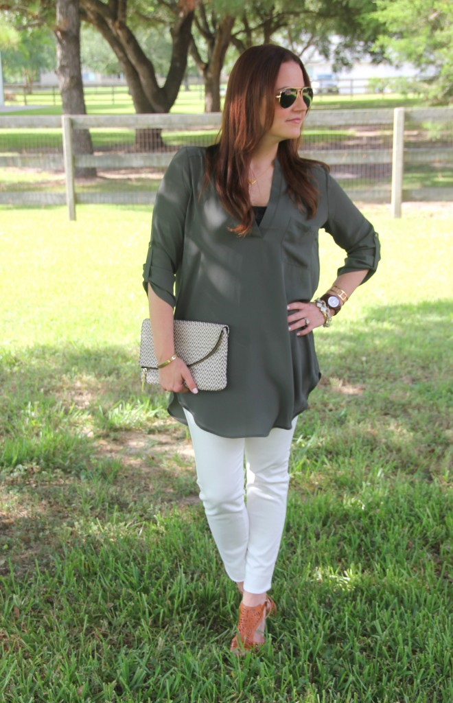 Olive Tunic and White Denim | Lady in Violet
