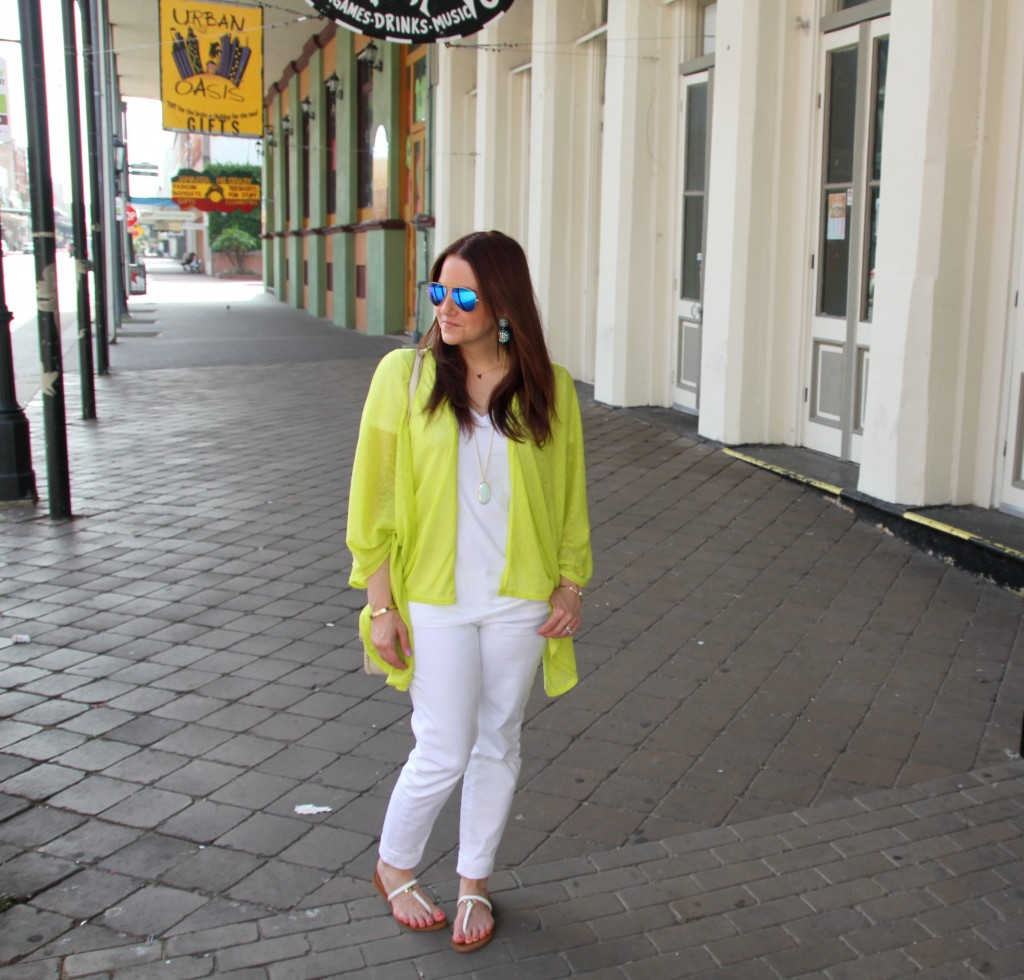 Yellow kimono and white outfit for summer | Lady in Violet